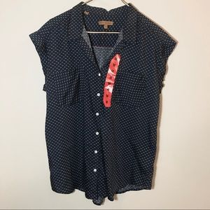 JACHS Girlfriend Short Sleeve Button Down Blouse